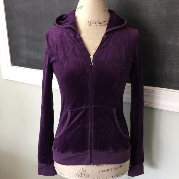 Juicy Couture Jackets & Blazers - Juicy Couture purple velour hoodie XS 14